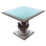 French Malachite center Table w/Silver Gilt pedestal Base