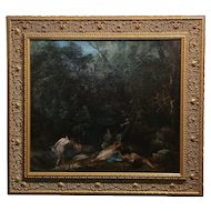 19th century Barbizon School -Group of Women bathing in the forest-Oil painting