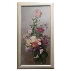 Alice Brown Chittenden -Still Life Chrysanthemums 1880s-Original Oil Painting