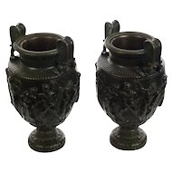 Pair of 19th century Monumental French Neoclassical Bronze Urns