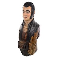 Antique Carved Wood & Painted Ship Figurehead  Bust of a Captain