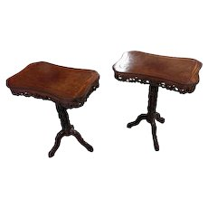 American Aesthetic Movement Highly Carved Side Table c.1860s -A Pair