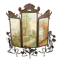 """Art Nouveau """"Fabulous"""" 3 oil painting on canvas panels - Patinate Bronze Screen frame with intricate overhead Grapevine motif -signed -circa1890s-Rare"""