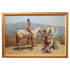 "Tim Solliday ""Native American Indians with Horses"" Original Oil Painting"