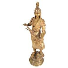 Alfred Barye -Tartare Mandchou - 19th century Gilt Bronze Sculpture of a Manchu Warrior