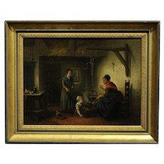 Jan Jac Matthys Damschroeder -19th c. German Interior Scene -Oil Painting