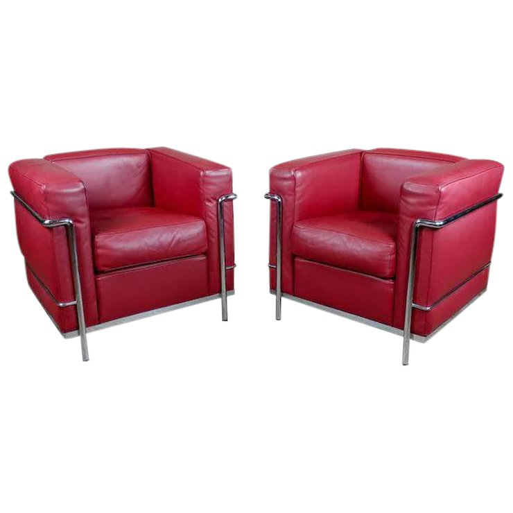 Le Corbusier LC2 Red Leather Poltrona Armchair by Cassina-a Pair ...
