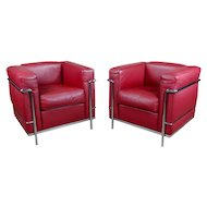 Le Corbusier LC2 Red Leather Poltrona Armchair by Cassina-a Pair
