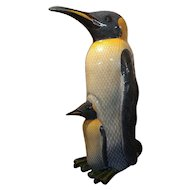 "Mama Penguin w/Baby original 40"" papier mache limited edition sculpture by Sergio Bustamante 37/100 - Signed & numbered"