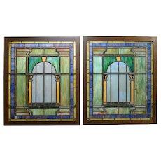 Tiffany c.1920s original leaded Glass Windows -Pair