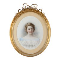 """19th c. French Pastel under glass Painting """"Beautiful Girl Portrait"""" w/ Oval Gilt-Wood Frame c1840s"""
