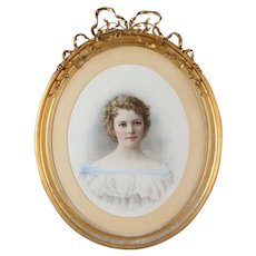 "19th c. French Pastel under glass Painting ""Beautiful Girl Portrait"" w/ Oval Gilt-Wood Frame c1840s"