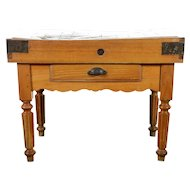 19th century French Fruitwood Butcher Block Table