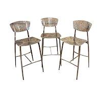 Beautiful Designer Bar Stools set of 3 Lucite & Polished Steel