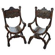 19th century Pair of highly carved walnut Roman Savonarola Chairs-c1840s