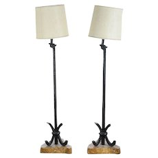 Mid-Century Modern Pair of Designer Bronze Floor Lamps - c.1950's