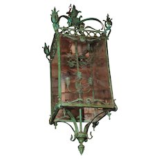"Pair of Large Bronze Lanterns w/Etched Glass""Fabulous Light Fixtures"""