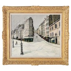 Parisian Winter Street scene-Gorgeous Oil painting by Jean MassonWinter