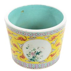Antique Chinese Beautiful Yellow Porcelain Planter