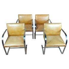 Knoll 1960s Mid-Century Modern Flat Bar Brno Armchairs-Set of 4
