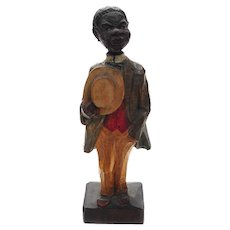 Whistling Black Dandy-antique Carved Wood Figurine c.1895 Germany
