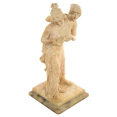 two playful Maidens -19th century Beautiful Alabaster Sculpture