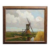 1920s Beautiful Dutch Windmill Landscape-Impressionist Oil painting