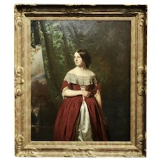 John Faed - Portrait of a beautiful Scottish young Lady -1850s oil painting