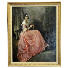 Julius Rolshoven -Portrait of a Lady in a beautiful Pink Silk Dress -Oil painting c.1880s