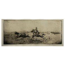 Edward Borein - Cowboy chasing Cow & Calf - Original Etching -Pencil Signed