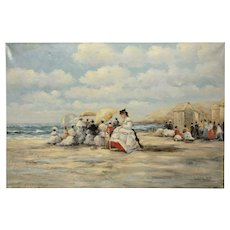 Judd Gallet - early century Women Beach Scene - Impressionist -Oil Painting