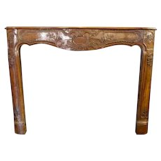 19th century Beautiful Hand Carved Walnut Fire Mantel