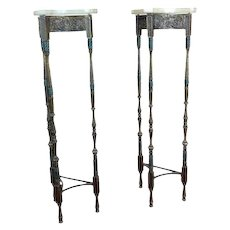 Antique Spanish Tripod Bronze Pedestals w/Onyx Top-A pair