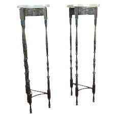 Antique Spanish Tripod Bronze Pedestals w/Onyx Top-A pair