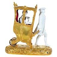 19th c. Gilt Bronze group Miniature Sedan Chair w/Bisque Figurines-Rare