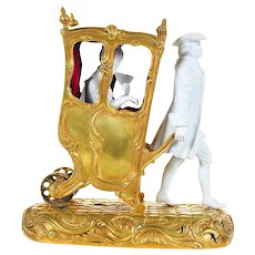 19th c. Gilt Bronze group Miniature Sedan Chair w/Bisque Figurines-Rare