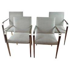 Steel & Wood Designer Armchairs -Set of 4