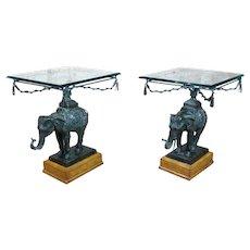 Maitland Smith Beautiful Bronze Elephant side Tables-A pair