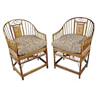 Brighton Pavilion Chinoiserie Chippendale Bamboo Armchairs-a Pair
