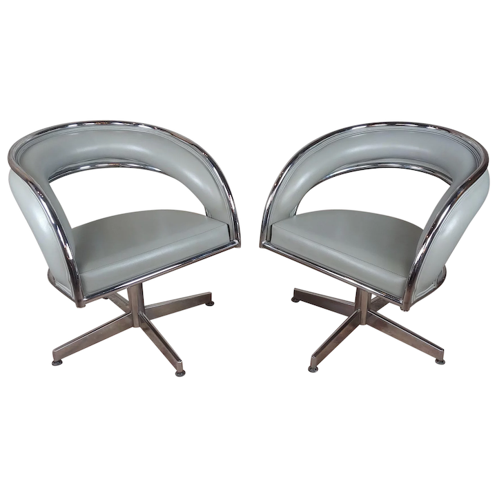 Groovy Mid Century Chrome Leather Round Office Chairs A Pair Download Free Architecture Designs Sospemadebymaigaardcom