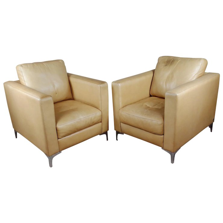 Kendal Art Deco Club Chairs By American Leather  A Pair