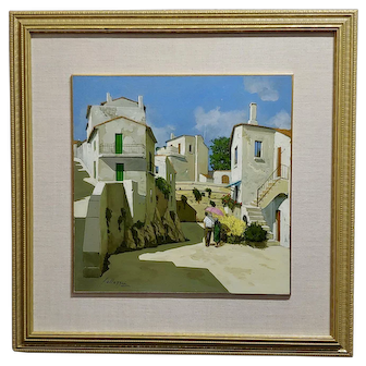 Lucio Sollazzi -Still In Love in a beautiful Italian village -Oil painting c1960s