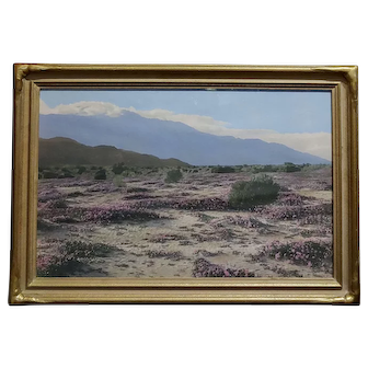Stephen Willard -Beautiful Desert Landscape -1920s oil Painted photograph