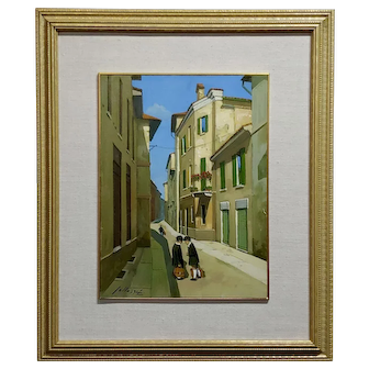 Lucio Sollazzi -School boys at play-Beautiful Italian Oil painting c.1960s