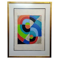 Sonia Delaunay -Demi Circles Couleur -1972 signed lithograph
