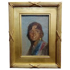 Portrait of a Native American Woman -Oil painting