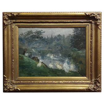 Antonio Barone - Duck Pond - Impressionist - Oil painting c.1910