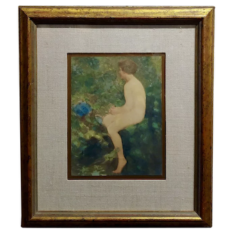 Lillian Mathilde Genth -Nude by the Stream - Painting -c.1910s