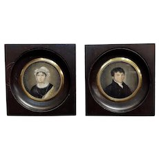 18th century English school -Husband & Wife Portraits - Miniature Painting