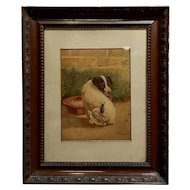"Edmund Caldwell ""Jack Russel Puppy w/a Stag Beetle""19th century Painting"